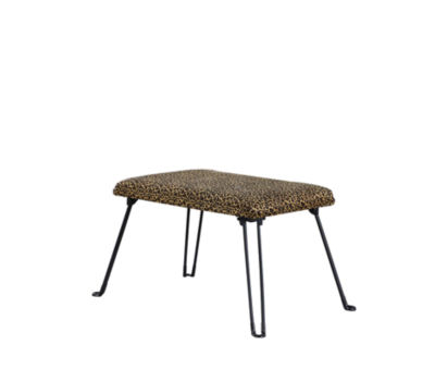 """Ore International 17"""" Leopard Backless Accent Seat with Foldable Legs"""