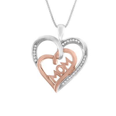 Womens 1/10 CT. T.W. White Diamond Sterling Silver & 14K Rose Gold Over Silver Mom Heart Pendant Necklace