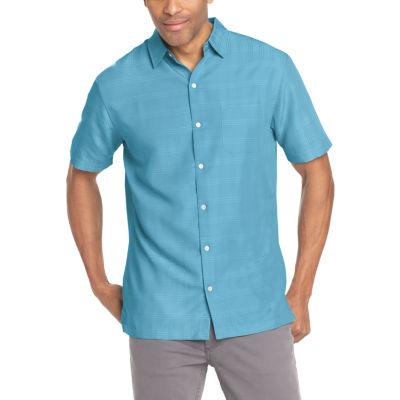 Van Heusen Short Sleeve Grid Button-Front Shirt