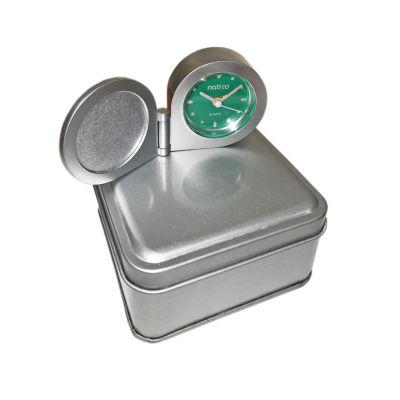 Natico Portable Round Clock With Alarm In Tin Box