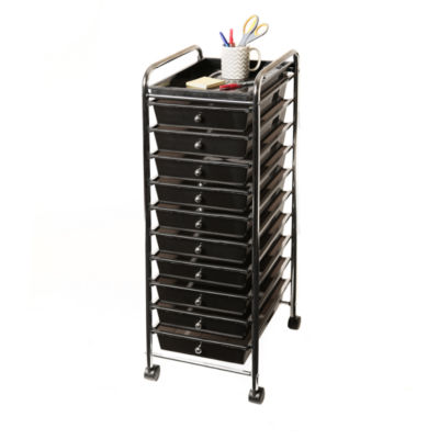 Seville Classics® 10-Drawer Organizer Cart with Tray