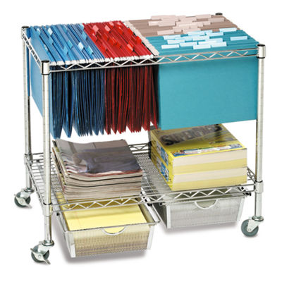 Seville Classics® 3-Tier Mobile Letter/Legal Office File & Utility Cart with 2 Steel Wire Mesh Baskets
