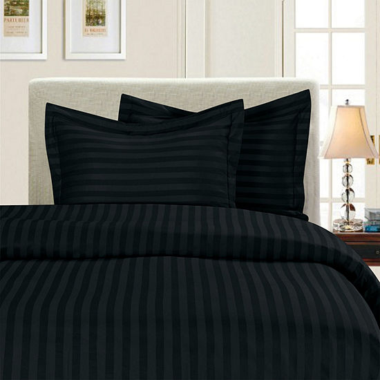 Elegant Comfort Luxurious Wrinkle Resistant Damask Stripe Duvet Cover Set