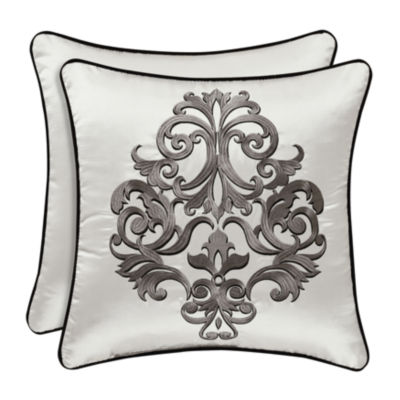 "Queen Street Carleigh 18""x18"" Square Embroidery Throw Pillow"