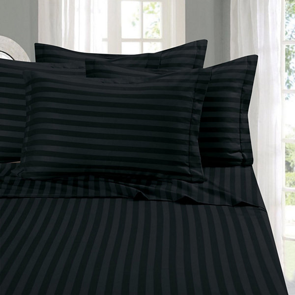 Elegant Comfort 6 Piece Dobby Stripe Wrinkle Free Bed Sheet Set With Extra  Pillowcases