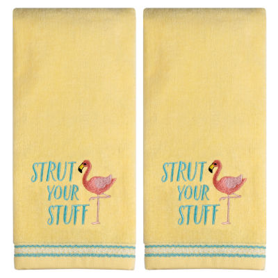 Saturday Knight Strut Your Stuff 2-pc. Embroidered Tropical Hand Towel