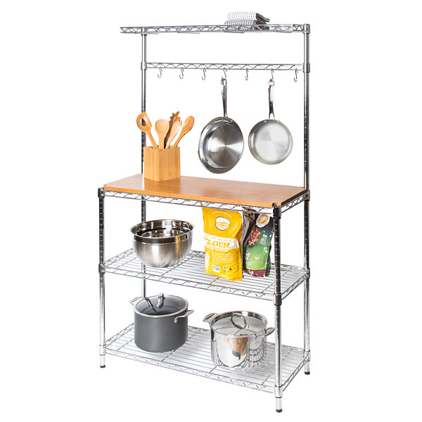 Seville Classics® UltraZinc Bakers Rack Workstation with Rubberwood Top