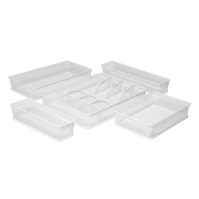 Seville Classics Steel Mesh Flatware Utensil Cutlery Tray Drawer Organizer and Box Assortment