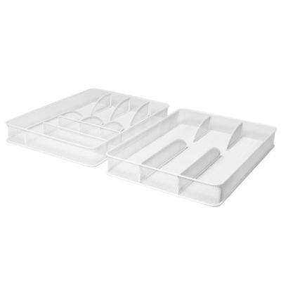 Seville Classics Large Steel Mesh Flatware Utensil Cutlery Desk Drawer Tray Organizer Set