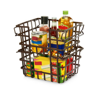 Seville Classics Iron Slat Stacking & Nesting Storage Baskets, 2-Piece Set