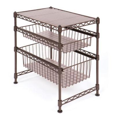 Seville Classics Stackable 3-Tier Sliding Double Basket Cabinet Organizer with Bonus Liners
