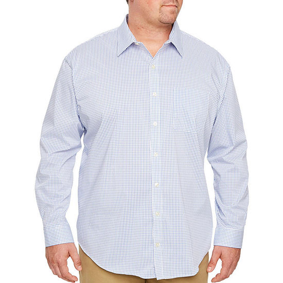 Van Heusen Big and Tall Traveler Stretch Non Iorn Mens Long Sleeve Checked Button-Down Shirt