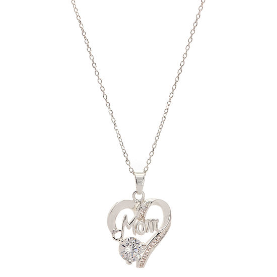 Sparkle Allure Mom In Heart Pendant Cubic Zirconia Pure Silver Over Brass 18 Inch Cable Heart Pendant Necklace