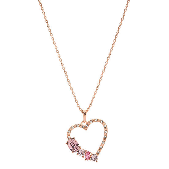 Sparkle Allure 14k Rose Gold Over Brass 18 Inch Cable Pink Heart Pendant Necklace Made With Swarovski Elements