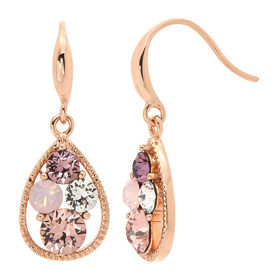 Sparkle Allure 14k Rose Gold Over Brass Pink Crystal Drop Earrings Made With Swarovski Elements