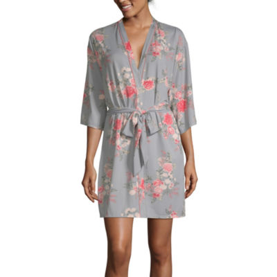 Flora By Flora Nikrooz Womens Knit Robe 3/4 Sleeve Short Length
