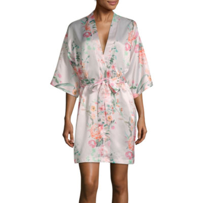 Flora By Flora Nikrooz Womens Satin Robe 3/4 Sleeve Short Length
