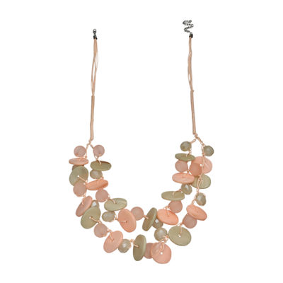 Mixit Blush Shell Double Row Womens Beaded Necklace