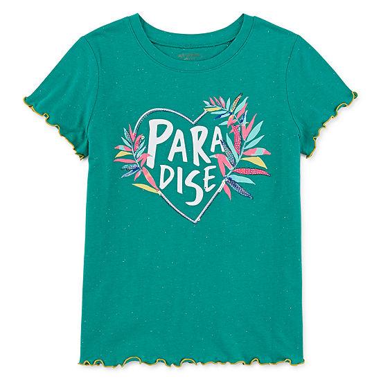 Arizona Girls Round Neck Short Sleeve Glitter Graphic T-Shirt-Preschool