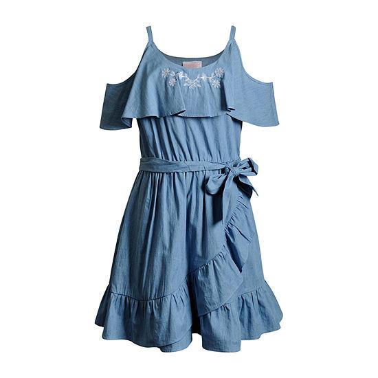 Emily West Girls Belted Sleeveless Wrap Dress - Big Kid
