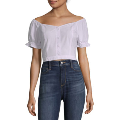 Arizona Womens Sweetheart Neck Short Sleeve Poplin Blouse-Juniors