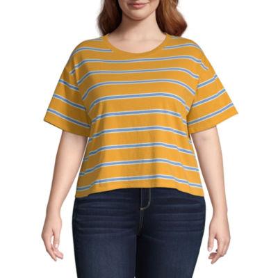 Arizona Womens Round Neck Short Sleeve T-Shirt Juniors Plus