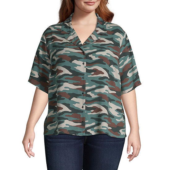 Arizona Womens Short Sleeve Button-Front Shirt-Juniors Plus