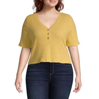 Arizona-Womens Y Neck Short Sleeve T-Shirt Juniors Plus