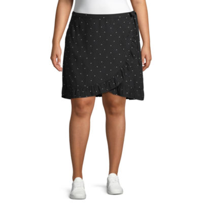 Arizona Womens Short Wrap Skirt-Juniors Plus