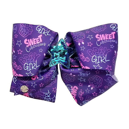 JoJo Siwa Purple 16th Birthday Bow Sweet Print Star Sequin Motif