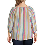 Zac And Rachel Womens Split Crew Neck Long Sleeve Blouse-Plus