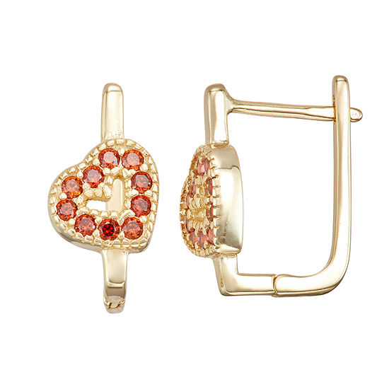 Children'S Red Cubic Zirconia 14K Gold Over Silver 14.7mm Heart Hoop Earrings