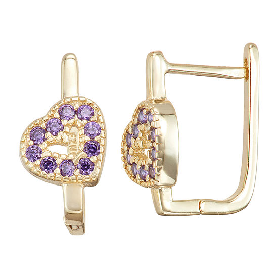 Children'S Purple Cubic Zirconia 14K Gold Over Silver 14.7mm Heart Hoop Earrings