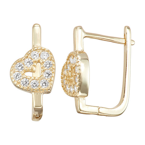 Children'S White Cubic Zirconia 14K Gold Over Silver 14.7mm Heart Hoop Earrings