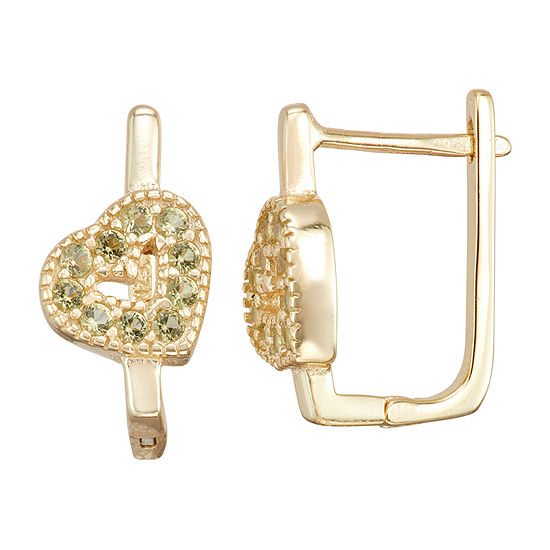 Children'S Green Cubic Zirconia 14K Gold Over Silver 14.7mm Heart Hoop Earrings