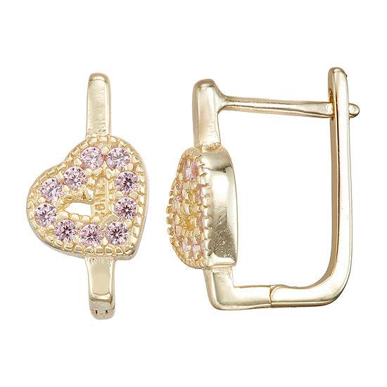 Children'S Pink Cubic Zirconia 14K Gold Over Silver 14.7mm Heart Hoop Earrings