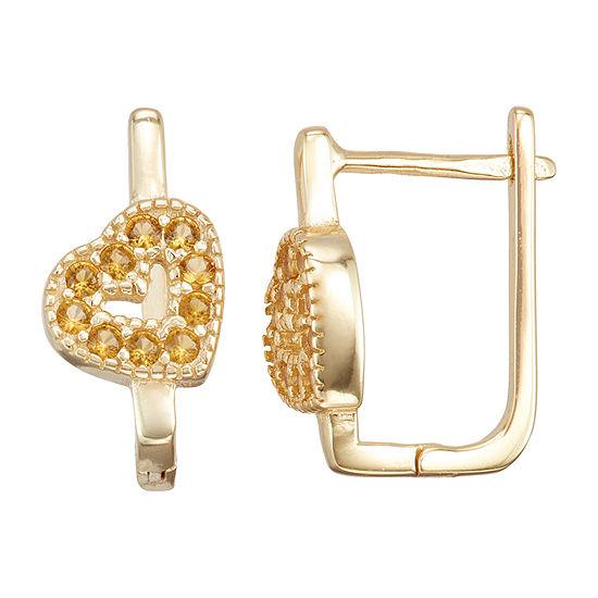 Children'S Yellow Cubic Zirconia 14K Gold Over Silver 14.7mm Heart Hoop Earrings