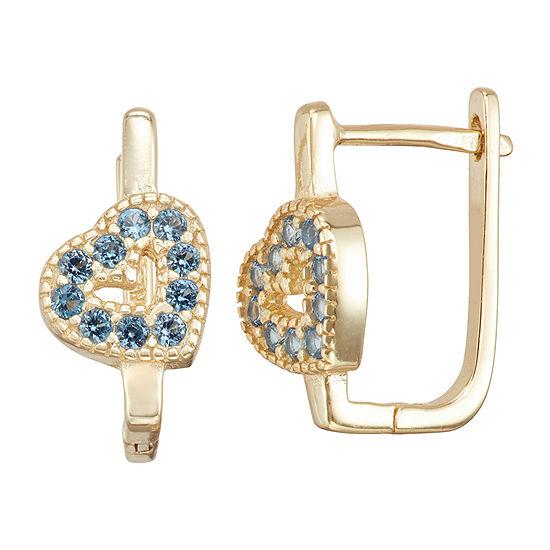 Children'S Blue Cubic Zirconia 14K Gold Over Silver 14.7mm Heart Hoop Earrings