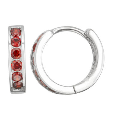 Children'S Red Cubic Zirconia Sterling Silver 12mm Hoop Earrings