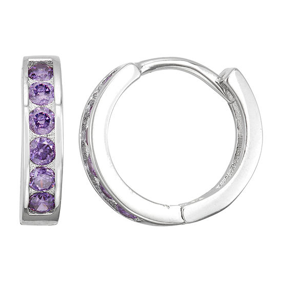 Children'S Purple Cubic Zirconia Sterling Silver 12mm Hoop Earrings