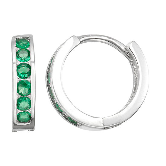 Children'S Green Cubic Zirconia Sterling Silver 12mm Hoop Earrings