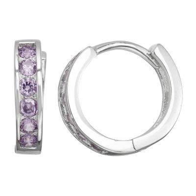 Children'S Purple Cubic Zirconia Sterling Silver 12mm Hoop Earrings