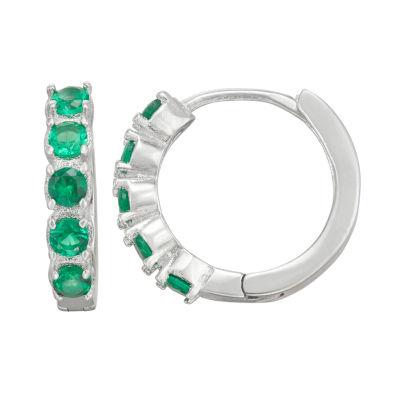 Green Cubic Zirconia Sterling Silver 12mm Hoop Earrings