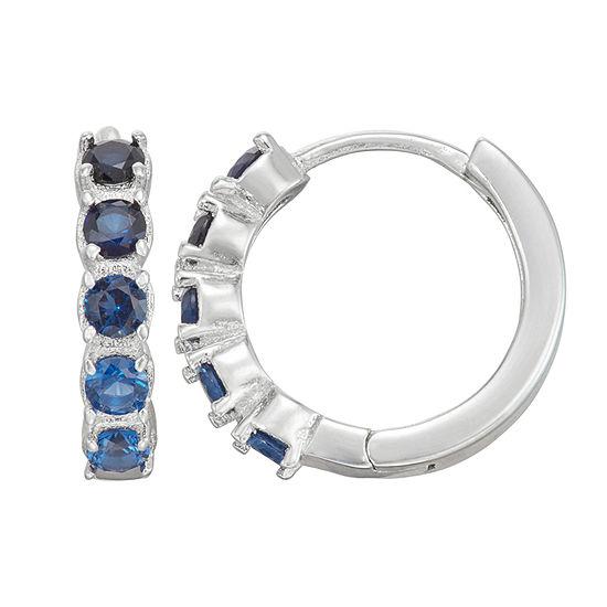 Children'S Blue Cubic Zirconia Sterling Silver 12mm Hoop Earrings
