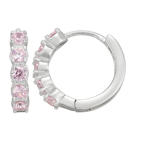 Children'S Pink Cubic Zirconia Sterling Silver 12mm Hoop Earrings