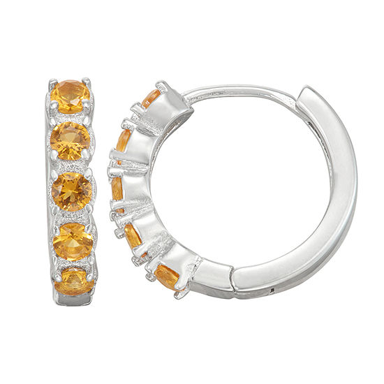 Children'S Yellow Cubic Zirconia Sterling Silver 12mm Hoop Earrings