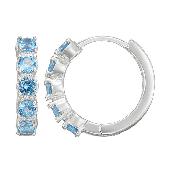 Children'S Blue Cubic Zirconia Sterling Silver 12mm Hoop Earrings
