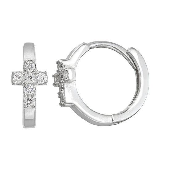 Children'S White Cubic Zirconia Sterling Silver 13.5mm Hoop Earrings