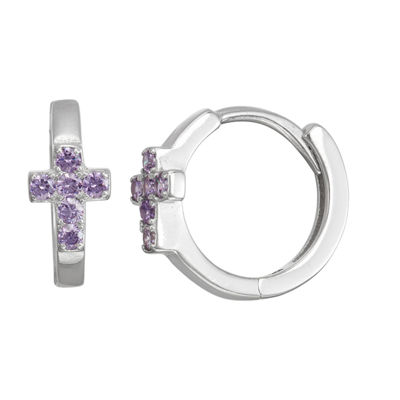 Children'S Purple Cubic Zirconia Sterling Silver 13.5mm Hoop Earrings
