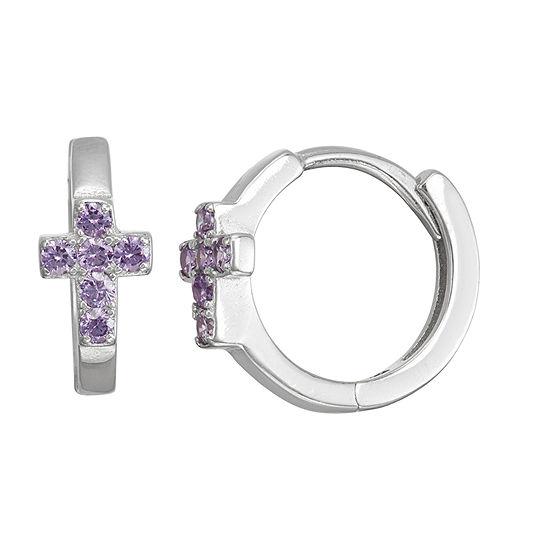Children'S Purple Cubic Zirconia Sterling Silver 13.5mm Hoop Earrings